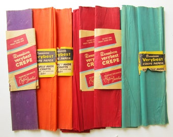 Vintage Dennison Crepe Paper Lot, Crafts Flowers Wedding Party Supplies, Unused 100 Ft, Red Orange Green Purple