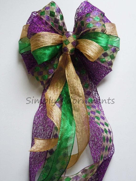 Mardi Gras Christmas Bow Mardi Gras Christmas Wreath Bow Purple Gold Green Harlequin Bow Mardi Gras Christmas Tree Topper Bow Large Gift Bow
