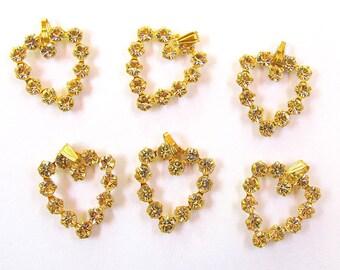 6  Crystal Rhinestone Heart Charms 16X18mm