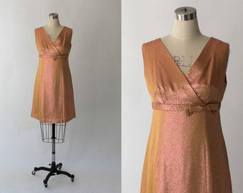 SALE // 1960s Lurex Mini Dress // 60s Vintage Short Empire Waist Metallic Formal Party Dress // Small - Medium