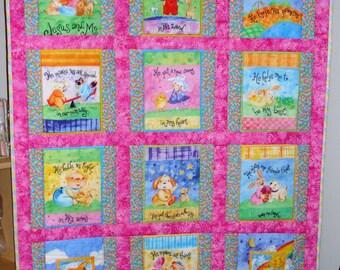 Jesus and Me Baby Crib Quilt - Toddler Lap Blanket - Baptism Christening Baby Shower Gift
