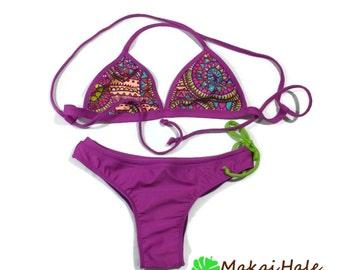 Bralette bikini set - Sports bathing suit - Purple bathing suit - Cross back bikini top - Brazilian Bikini Set - Cheeky bikini bottom