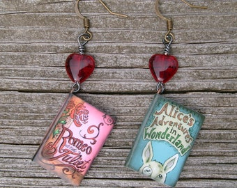 LOVE BOOKS! Pair of Earrings Romeo and Juliet and Alice's Adventures in Wonderland Bibliophile