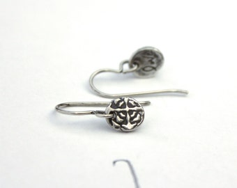 sale sterling silver earrings . drop dangle earrings . simple tudor rose earrings . bridal wedding earrings jewelry . ready to ship gift