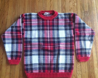 Vintage Northern Reflections Red Plaid Knit Winter Sweater