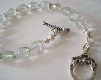 Green Amethyst Bracelet,  Sterling Silver Bracelet, Prasiolite Bracelet