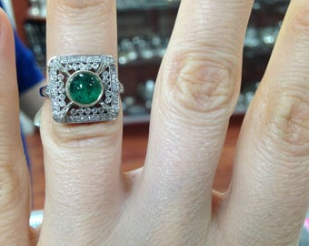 Emerald and Diamond Ring , Emerald Ring, Vintage Ring, Emerald Vintage Ring