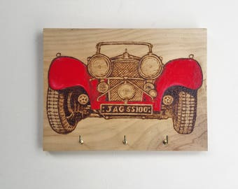 Pyrography - Woodburning - Key Holder - Classic Car - Jaguar