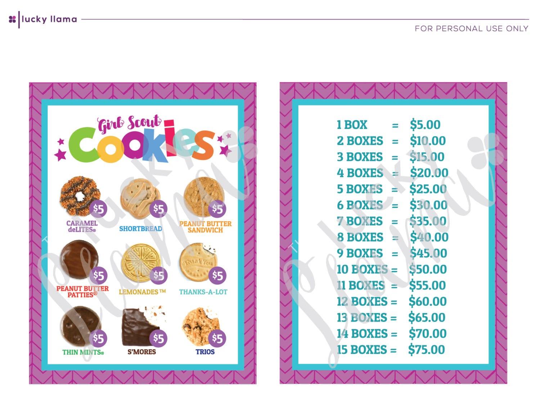 2018 girl scout cookie lanyard printable