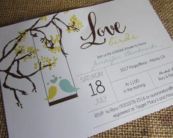 Love Birds Bridal Shower - DIY - PRINT YOURSELF or purchase prints - any color