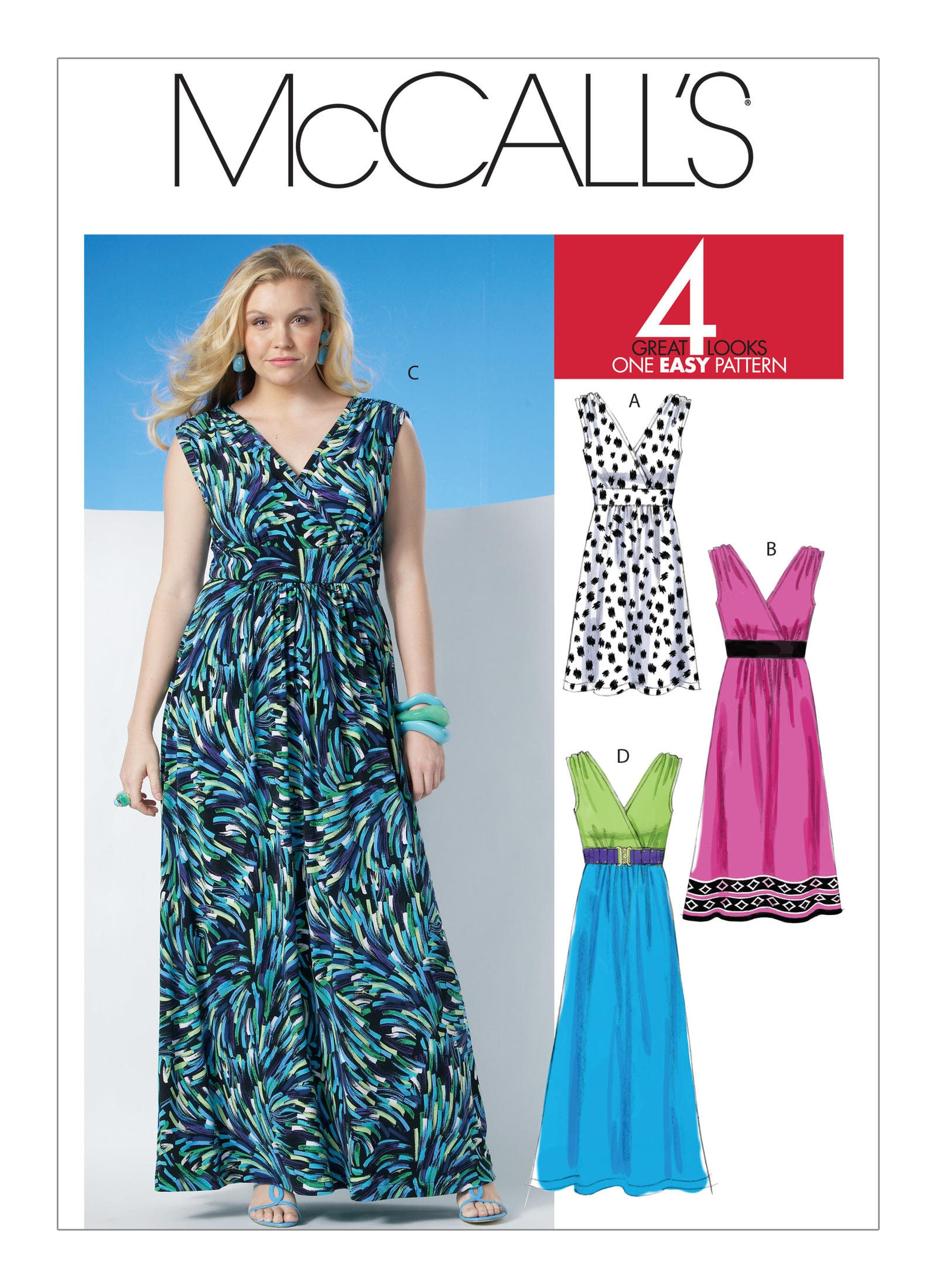 Sewing Pattern for Misses\'/Women\'s Surplice Dress In Three Lengths ...