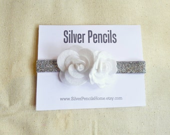 Newborn Baby Felt Flower Headband, Silver, Head wrap, Infant, Sparkly, Gift, Fancy, Wedding