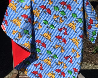 Flannel Baby Blanket / Kid Car Blanket - Dinosaurs Dinos on Blue Stripes with Red Back, Personalization Available