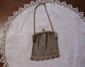 Antique Purse, Vintage Purse, German Silver Purse, Child's Purse, Coin Purse,  Mesh Metal,  Mesh Purse, Silver Mesh Purse, Antique Hand Bag
