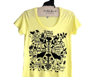 SALE Large - Yellow Super Soft Scoop Neck Tee with Folk Art Design