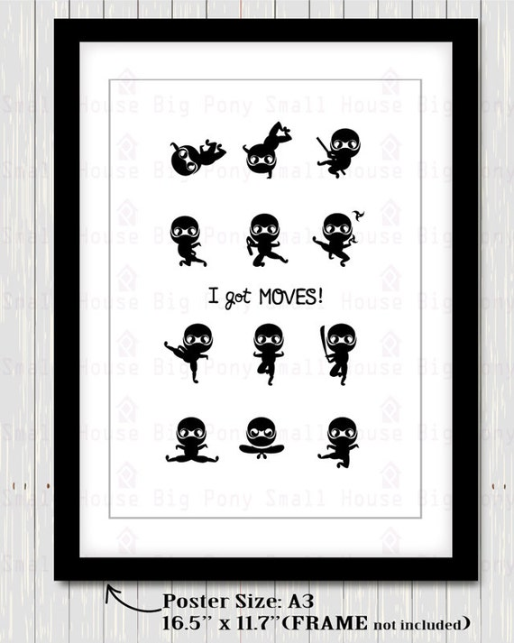 Ninja Poster Clip art, Clipart , I got moves poster-  ready to print poster for home decor
