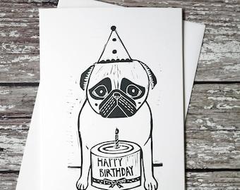 Birthday Pug Card Birthday Card Hand Printed Lino Print Card Pug Gift Dog Gift Birthday Gift /// Puggy Birthday