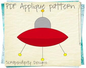 Alien Spaceship Applique Template - Boy Clothing Applique Design / DIY Alien Quilt Pattern / Space Ship Applique Pattern / Scrapbook AP141-D