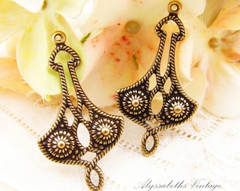 Large Art Deco Antiqued Brass Ox Rope Filigree Earring Dangles Connectors Stampings - 4