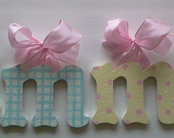 Glitter Pastel Wood Wall Letters - Kids Wall Art