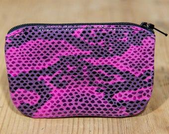 Pink snakeskin effect leather wallet