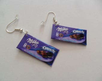 """Milka"" pendant earrings chocolate"