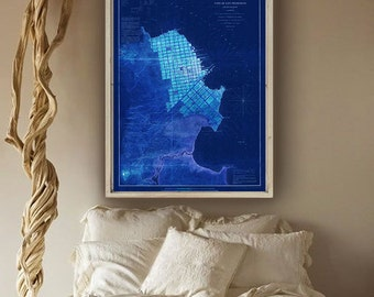 """San Francisco Map 1853, San Francisco Bay area map 20x27"""" (50x70 cm) or 27x40"""" (70x100 cm) old map also in blue - Limited Edition of 100"""