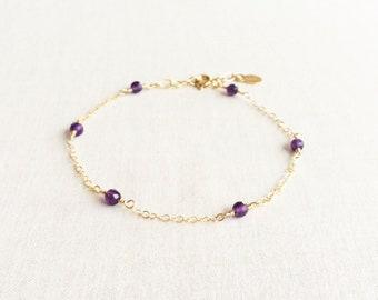 Amethyst Bracelet, February Birthstone Bracelet, Minimal Bracelet Women, Amethyst Bead Bracelet, Amethyst Jewelry, Gemstone Bracelet, GB6B2
