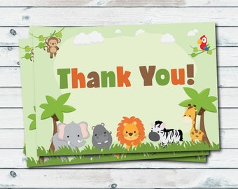 Zoo Animals Thank You Cards Flat Cards Folded Cards