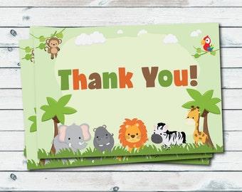 Printable Safari Thank You Cards, Jungle Animals Thank You Cards, Safari Baby Shower Printable, Safari Animals Thank You, Printable Cards