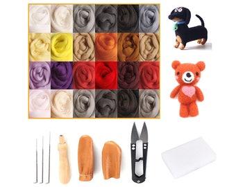 Needle Felting Kits Merino Wool Roving 24 Colour x 5g for Felting Kits Beginners (32 Kits)
