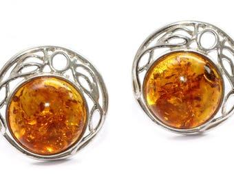 Baltic amber earrings - Sterling silver earrings - Amber silver earrings - Baltic amber jewelry - Gift for Her - Gift for women - Mom's Gift