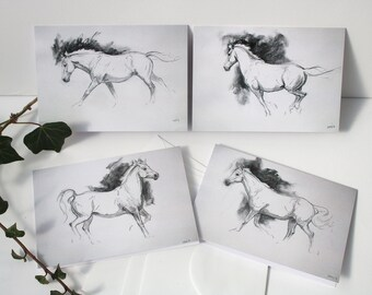 Set of four horse cards - horse art - horse painting - charcoal - greetings cards - birthday notecards - blank notecard set
