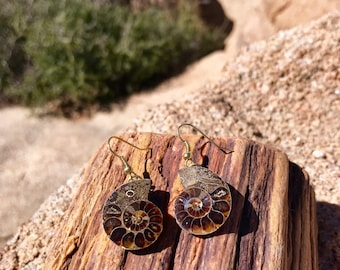 Raw, Natural, Mineral, Rock, Ammonite Earrings