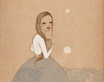 Book Girl 2 print of original drawing