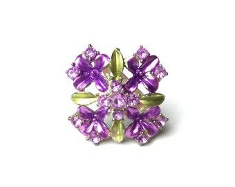 Art nouveau brooch, plique a jour, Purple brooch, floral brooch, flower brooch 1930s brooch, 30s brooch plique du jour, art nouveau jewelry