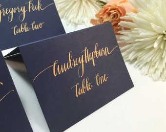 RUSH SHIPPING Wedding Place Cards, Place Cards, Escort Cards, Place Cards Wedding, Wedding Calligraphy, Navy Place Cards, Gold Place Cards