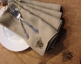 Bumble Bee Linen Napkins - set of 4 - pure linen - embroidered - Easter