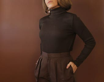 The Chocolate Turtleneck / Brown turtleneck / fitted turtleneck / vintage brown ribbed turtleneck mock neck top / pullover high neck top M