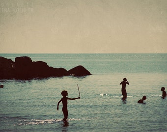 MORNING BEACH photography print, children playing in the water, retro nursery art, 8x12