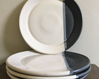 Ready to ship! - Set of 4 Handmade Ceramic Plates, Black and White Stoneware Plates