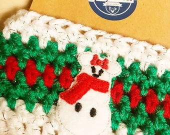 Snow Mouse Crochet Coffee Cup Cozy