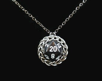 Chainmail D20 necklace, Nerd jewelry, Dice pendant, chainmaille, Twenty sided, Dungeons and dragons, Geek gifts, Gamer gifts, Role playing