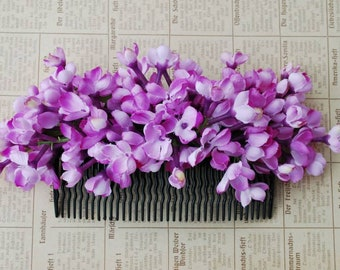 Beautiful big hair comb with lilac flowers vintage rockabilly style wedding 40s 50s fascinator bride bridal hair piece