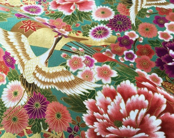 Green and golden floral and crane japanese cotton fabric fat quarter, cherry blossom flowers, tissue japonais, chrysanthemum and tsuru japan