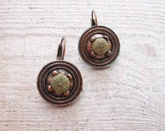 Green Sea Urchin Earrings Special Copper