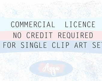 Limited Commercial License NO Credit required. For Single Clip Art Set.