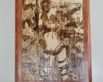 X-Men inspired Savage Land Rogue wood burned wall art