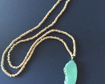 Turquoise Pendant Seed Bead Necklace