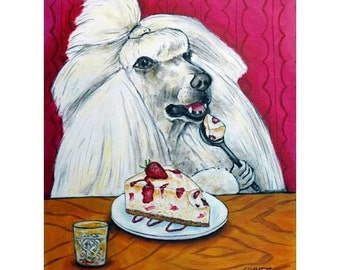 Poodle dog art with cheesecake print poster 11x14